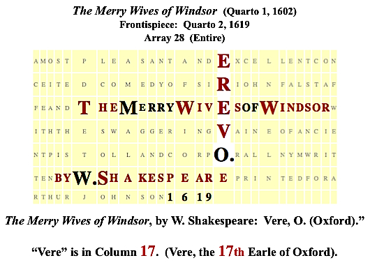 Merry Wives, frps., 1619, plaintext, Vere, Shakespeare, #2