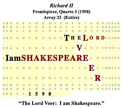 Richard II, frps., Q3 (1598), Veer, I am Shakespeare.