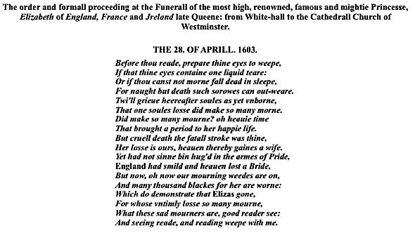 Elizabeth's Funeral, 1603, plaintext