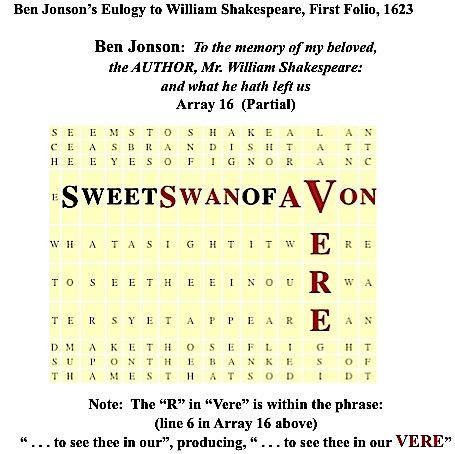 Jonson's 1623 Eulogy to Shx, 1623 FF, VERE, Sweet Swan of Avon