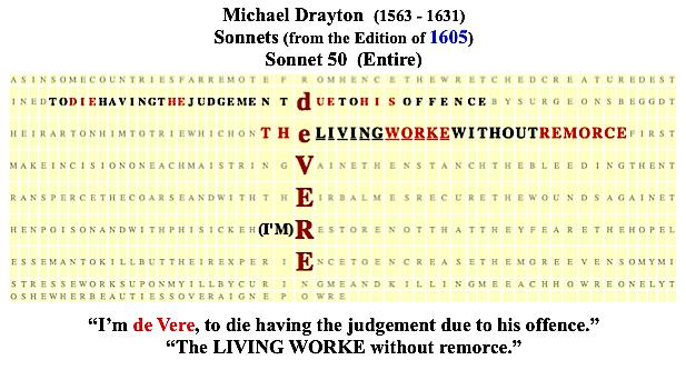 Michael Drayton, Sonnet 50, 1605, %22I'm DE VERE.%22, #13
